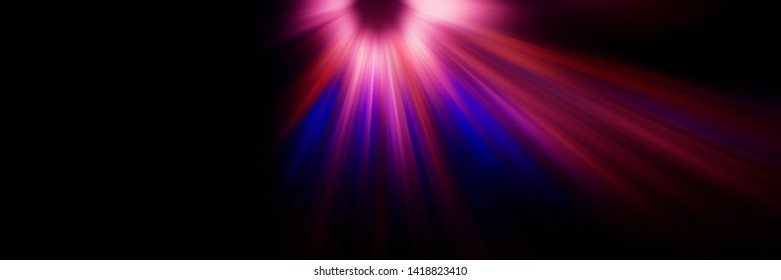 Abstract blurred background, violet flash and descending radial light rays of red, white and blue on a dark background. Web banner for your design.