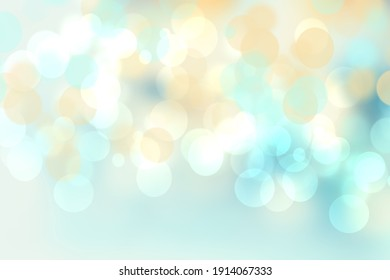 Abstract blurred fresh vivid spring summer light delicate pastel blue pink white yellow bokeh background texture with bright circular soft color lights. Beautiful backdrop illustration.