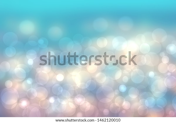 Abstract blurred fresh vivid spring summer light delicate pastel blue pink white bokeh background texture with bright circular soft color lights. Beautiful backdrop illustration.