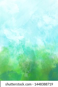Abstract blurred green and blue background. Digital illustration.