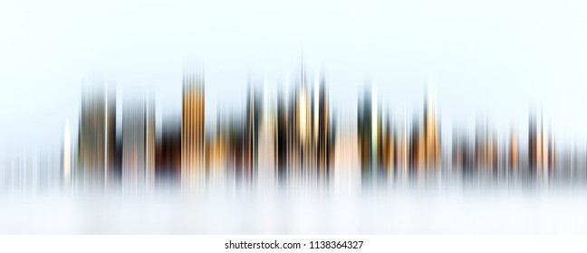 Abstract blurred New York City background. Manhattan early morning panorama