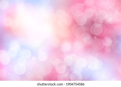 Abstract blurred vivid spring summer light delicate pastel pink bokeh background texture with bright soft color circles. Space for your text. Beautiful backdrop illustration.