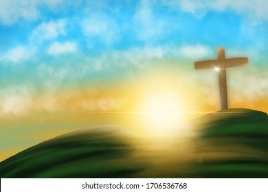 Abstract Blurry background of Drawing watercolor of Conceptual cross sign or religion symbol over a sunset sky with clouds background for God. illustration.