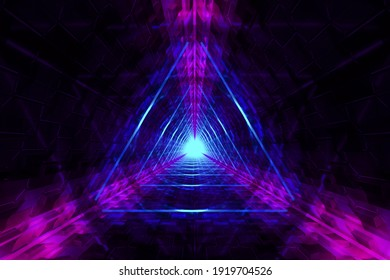 Abstract blurry background with neon triangles lights. 3d illustration