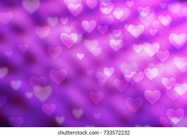 abstract bokeh, heart on soft purple background.