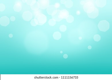 Abstract bokeh light turquoise color background.  Turquoise Bokeh light