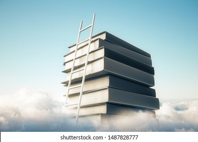 Abstract book stack with ladder on sky with clouds background. Knowledge and growth concept. 3D Rendering