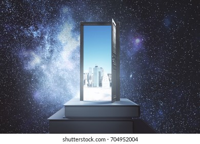 Abstract books with open door and daytime city view on space background. Opportunity, imagination and creativity concept. 3D Rendering