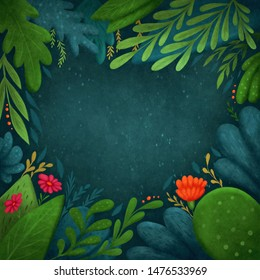 Abstract botanical tropical background with copy space