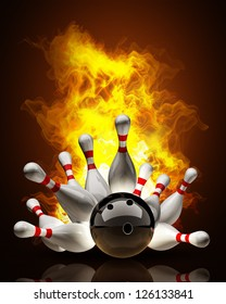 Abstract Bowling Ball crashing into the pins on fire. High resolution 3d render