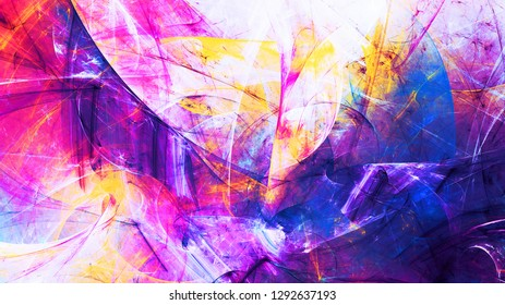 Abstract bright blue and purple neon texture. Multicolor background. Bright futuristic pattern for electronic music fest. Fractal artwork for creative graphic design