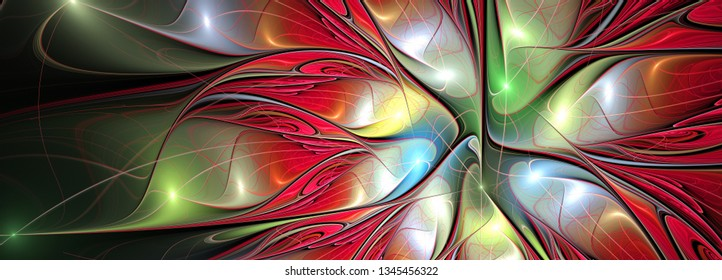 Abstract bright color fantasy flower pattern with lighting effect. Beautiful futuristic background for wallpaper, interior, album, flyer cover, poster, booklet. Fractal artwork for creative design