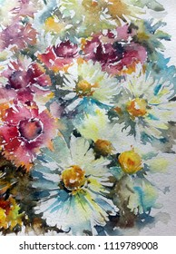 Abstract bright colored decorative background . Floral pattern handmade . Beautiful tender romantic summer meadow with wildflowers and chamomile , made in the technique of watercolors from nature.