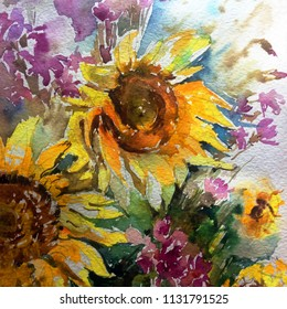 Abstract bright colored decorative background . Floral pattern handmade . Beautiful tender romantic bouquet of sunflowers , meadow  , made in the technique of watercolors from nature.