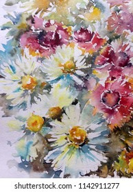 Abstract bright colored decorative background . Floral pattern handmade . Beautiful tender romantic bouquet off  chamomile flowers  , made in the technique of watercolors from nature.