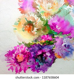 Abstract bright colored decorative background . Floral pattern handmade . Beautiful tender romantic bouquet of aster flowers , made in the technique of watercolors from nature.