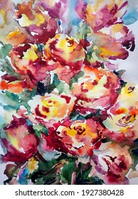 Abstract bright colored decorative background . Floral pattern handmade . Beautiful tender romantic bouquet of spring rose flowers , made in the technique of watercolors from nature.