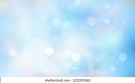 Abstract bright colorful blur bokeh background with blue white pastel circles. Beautiful texture.
