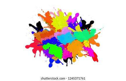 Abstract bright colorful powder on white background. Colored paint brushes.