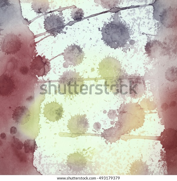 Abstract bright and colorful watercolor painting with multicolored dots and brush strokes.