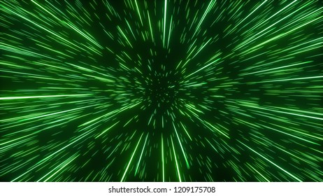 Abstract bright creative cosmic background. Hyper jump into another galaxy. Speed of light, neon glowing rays in motion. Beautiful fireworks, colorful explosion, big bang. Falling stars. 3d rendering