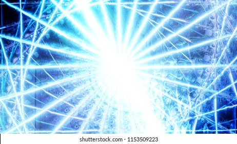 Abstract bright light blue star. The glow and flicker of atom, electron or photon. The effect of radiation of bright x-rays, gamma and electromagnetic rays from the center. Explosion of a supernova.