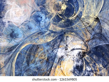 Abstract bright motion composition. Modern futuristic dynamic background. Blue color artistic pattern of paints. Fractal artwork for creative graphic design