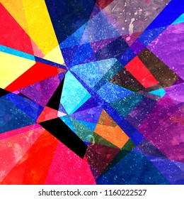 Abstract bright multicolored geometric background with different elements
