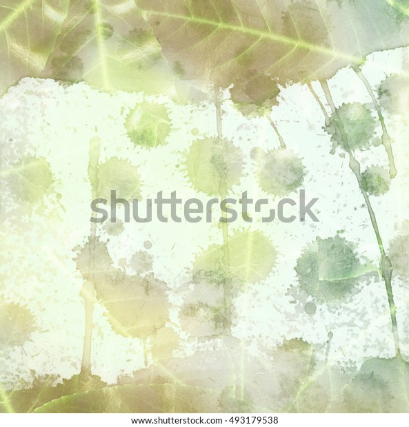Abstract bright watercolor painting on paper and tree leaves with brush strokes and splashes