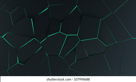 Abstract broken background made of carbon-fibre with green glowing edges 3D