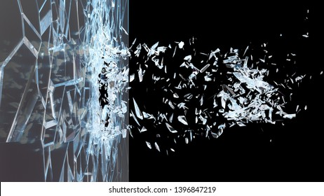 Abstract broken glass into pieces. Wall of glass shatters into small pieces. Place for your banner, advertisement. Explosion caused the destruction of glass. 3d illustration