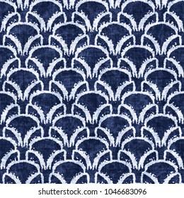 Abstract Broken Grid Graphic Motif Indigo-Dyed Effect Textured Background. Seamless Pattern.