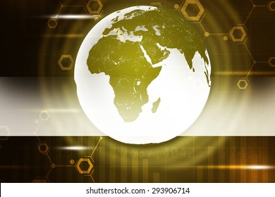 Abstract brown background with Earth and numbers. Elements of this image furnished by NASA