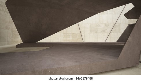 Abstract brown and beige concrete interior. 3D illustration and rendering.
