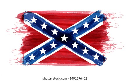 Abstract brushed watercolor imitation abstract flag of Confederate States of America.