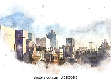 Abstract Building in capital at night on watercolor painting background. City on Digital illustration brush to art