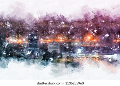 Abstract Building in the city on watercolor painting background. City on Digital illustration brush to art.