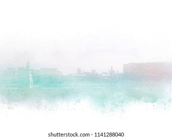 Abstract Building in the city on watercolor painting background.