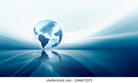 abstract business background with blue world. 3D image.