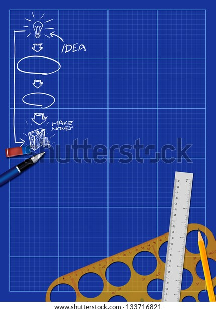 Abstract business blueprint poster background with space