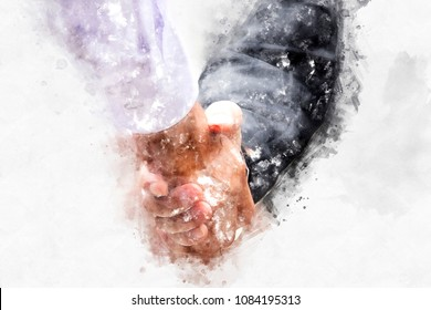 Abstract Business handshake on watercolor painting background.