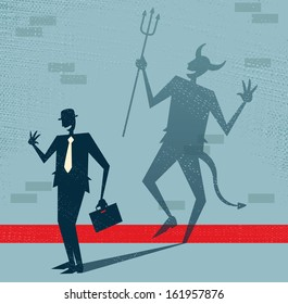 Abstract Businessman is the Devil in Disguise. Great illustration of Retro styled Businessman who's shadow reveals him to be somebody quite sinister in the form of a Dancing Devil.