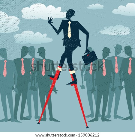 Abstract Businessman has an advantage. Great illustration of Retro styled Businessman who has got an advantage over his rivals by using lateral thinking to give him an edge.