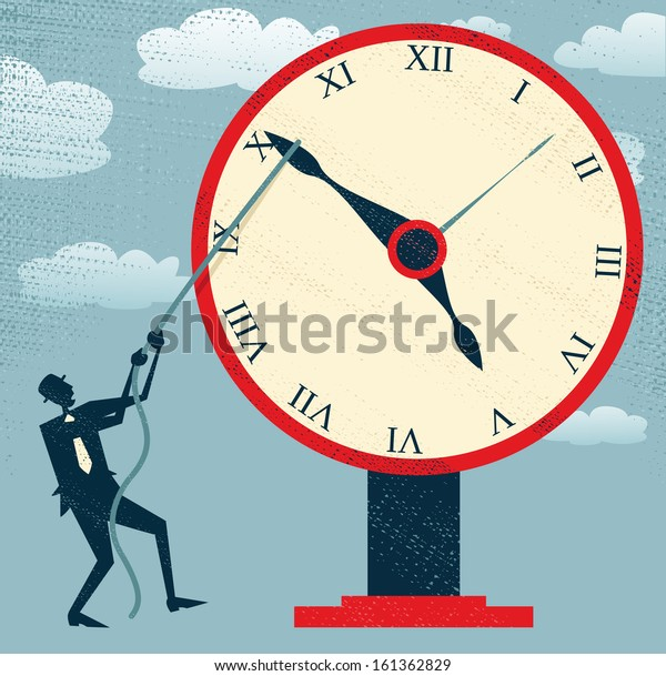 Abstract Businessman holding back Time. Fantastic illustration of Retro styled Businessman desperately trying to hold back time so he can make an important deadline.