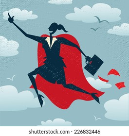 Abstract Businesswoman is a Superhero. Abstract Businesswoman flies off to rescue another business deal that is need of her super powers.