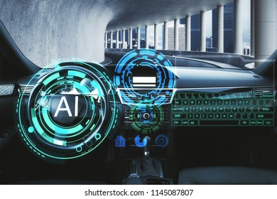 Abstract car interior with glowing AI interface. Artificial intelligence and technology concept. 3D Rendering