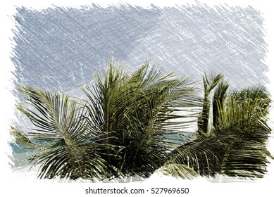 Abstract caribbean palm tree leaves in motion. Colorful art style branches moving on tropical beach, ideal for travel blog, design template, print magazine. Image with charcoal sketch filter effect