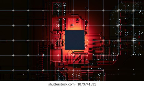 Abstract Central Computer Processors Concept. 3D illustration. Conceptual CPU on circuit board - PCB. Depth of field effect