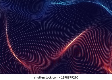 Abstract cg blue red and wave texture with glowing defocused particles. Cyber or technology digital landscape background. 3d rendering