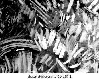 Abstract chalk and charcoal texture on black background. Black-chalk illustration with textured background. Artistic image with line art, grunge spots, and bell vintage elements for design work.
